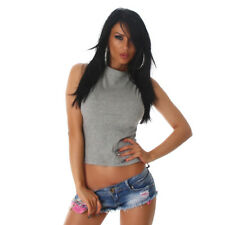 Sexy Basic Shirt Top Shirt ärmelloses Feinripp Top Bauchfrei Grau Größe 36