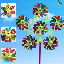 1 Unidades 30 * 50 cm DIY Sonrisa Cara Gran Molino de viento Colorido VientoUPHW