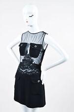 VINTAGE Istante By Gianni Versace NWT Black Wool Silk Sheer Sheath Dress SZ 42