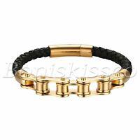 Men's Women's Gold Tone Stainless Steel Braided Leather Magnetic Bangle Bracelet