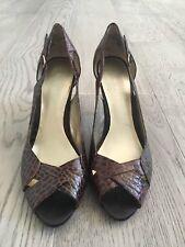 NINE WEST Faux Alligator Croc Skin Brown Peep Toe Heels Shoes 6.5 M #394