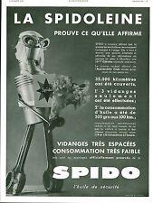 Publicité Ancienne  Huile pour Voiture SPIDO 1933  R L Dupuy