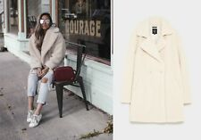 ZARA OFF WHITE ECRU SOFT FAUX FUR JACKET COAT PELZ FELL MANTEL JACKE SIZE M L