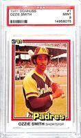 1981 Donruss Baseball Card_#1 Ozzie Smith_PSA MINT 9_HOF_Padres_The Wizard