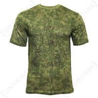Digital Russian Woodland Camo T-Shirt - 95% Cotton Army Military Top New