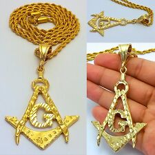 "MENS GOLD MASONIC 'G' PENDANT 4MM 30"" STAINLESS STEEL ROPE CHAIN NECKLACE"