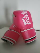 Fairtex Muay Thai Style Boxing Gloves Pink with white trim 14oz