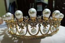 Elegant Pearl Drop Bridal Gold Tiara