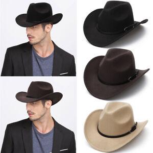 Women Men Hat Wild West Cowgirl Cowboy Hats Western-Headwear Wide Brim Cap New
