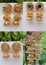UK SELLER Indian Bollywood Gold Tone Layer Kundan Jhumka Jhumki Pearl Earring