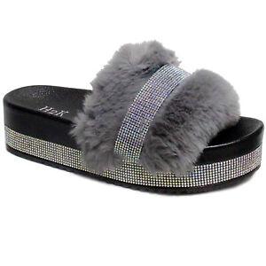 New Women's Faux Fur Rhinestone Platform Slide Crystal Mid Heel Slipper Sandal