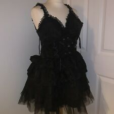 Corset Story Sz Small Black Lace Tulle Burlesque Milkmaid Wench Corset Dress