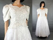 Long Wedding Gown Sz 12 L White Shiny Lace Satin Silver Beads Beaded Dress
