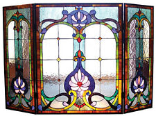 "VICTORIAN STAINED GLASS FIREPLACE SCREEN * Art Deco "" SERENITY LOTUS "" / Blues"