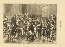 Children, Costumes, Fancy Dress Ball, Liverpool, Vintage, 1877 Antique Print,