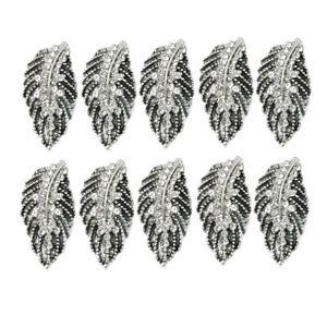 10x Crystal Rhinestone Button Flatback Leaf Wedding Invitation Embellishment