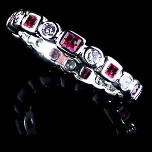 GEOMETRIC RUBY RED/ CLEAR CZ ETERNITY BAND TOE RING_SIZE-4__925 STERLING SILVER
