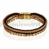 """8.46"""" Braided Leather Stainless Steel Chain Double Layer Bracelet Bangle for Men"""