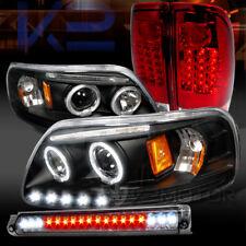 97-03 F150 Black Halo Projector Headlights+Red LED Tail Lamp+Smoke LED 3rd Brake