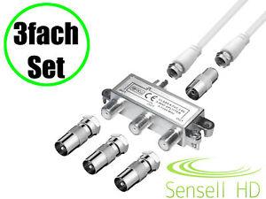 3-fach TV Verteiler Set Kabel Koax Adapter Splitter BK Kabel-TV DVB-C HD Digital