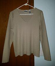 Villager by Liz Claiborne Women's Beige Tan V-Neck Sweater ~ Medium ~ Gorgeous