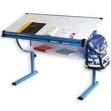 Idimex bureau enfant Bleu Réglable en hauteur et Plateau inclinable