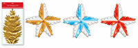 Hanging Foil Star Burst Christmas Decorations Large Gold Blue & Red Colour Stars