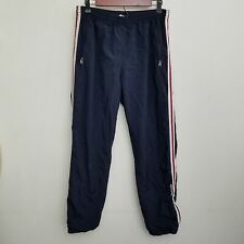 Abercrombie Fitch Mens Track Pants XL Blue White Stripe Zip Ankle Tie Waist