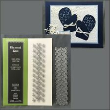 Poppystamps metal die 951 DIAMOND KNIT pattern die winter,border,retired