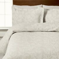 100% Cotton Jacquard Floral Design Duvet Cover Set in Ivory King Size