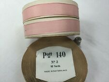 18 yds of 1940's pink crepe rayon woven edged ribbon,5/16.Ruban ancien.1.9cm