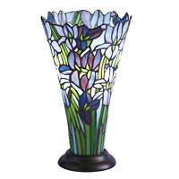 Irises Accent Lamp - Decorative Stained Glass Vase Shaped Floral Table Light