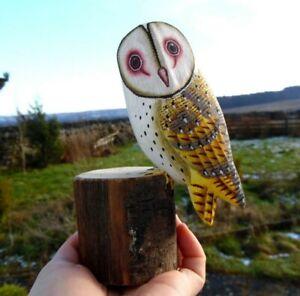 Fair Trade Barn Owl Hand Painted Wooden Ornament, Decorative, Handmade