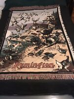 Vintage Remington Game Hunting Scene Throw Blanket Tapestry by Goodwin Weavers