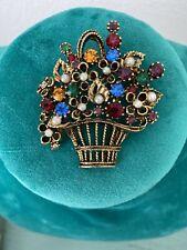 Vintage Multi Color Stone Flower Basket Pin Brooch Gold Tone
