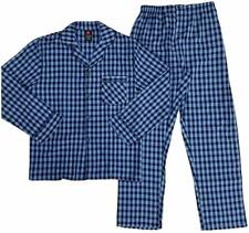 Hanes Men's Woven Pajama Set Long Sleeve Sleepwear Blue Checkered Size S, NEW