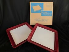 """2 Pampered Chef Cranberry STRIPES 10-1/8"""""""" sq DINNER PLATEs NEW Simple Editions"""