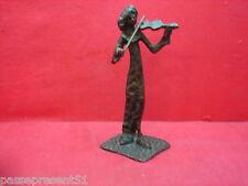 Jolie ancienne statue en bronze, violon, violoncelliste