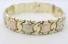 14K Solid Gold Multi Tone Ladies Fancy XOXO Bracelet 8 inches 23.3 grams