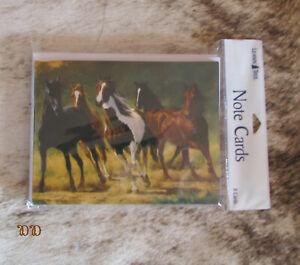 "LEANIN TREE ""Running Horses""~Pack of 8 Notecards #35033~Artist Chris Cummings~"