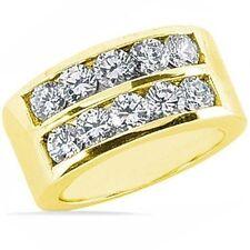 2.01 ct 2 row round Diamond Wedding Ring Anniversary Band 14K Yellow Gold