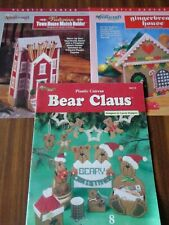 LOT PLASTIC CANVAS PATTERNS CHRISTMAS BEAR CLAUS GINGERBREAD MATCH HOUSE g