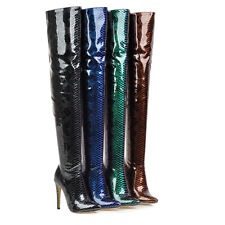 Womens 4.5 inches High Heel Zip Over the Knee Boots Patent Leather Pointed Shoes