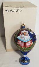 """Thriftchi ~ Laved Italian Glass Ornament - 1999 Hand Painted Ball 8"""""""