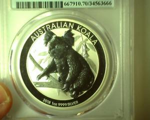 2018P Australia S1$ PCGS MS70 KOALA 1 oz .9999 Silver Early Issue Holder -