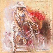 Talantbek Chekirov: A Basket full of Flowers Fertig-Bild 50x50 Wandbild Mädchen