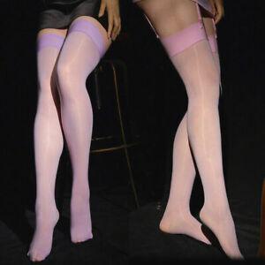 Ladies Super Elastic Shiny Glossy High Hosiery Sheer Nylon Thigh-Highs Stockings