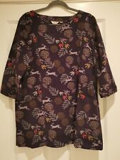 Lily and Me Running Hare and bird, purple, fine cord Tunic. Size 16