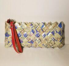 Nahui Ollin Wristlet New York City NYC Map Purse Woven Clutch Zippered Bag