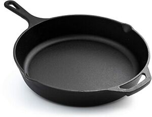 Nuovva Pre Seasoned Cast Iron Skillet Frying Pan Oven Safe Grill Cookware 12inch